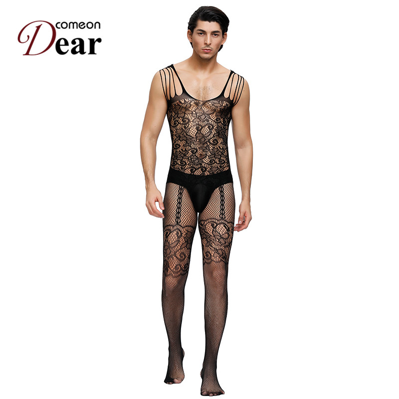 Comeondear Jacquard Mens Teddies Male Strappy Cold Shoulder Black Bodystockings Breathability Sex Suit Dance Party Socks MPA160
