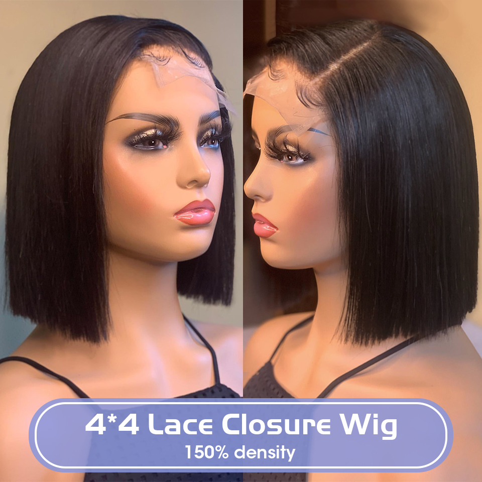 150% Density Brazilian 4*4 Short Bob Straight Lace Closure Wig Human Hair Wigs Pre-Plucked Remy For Natural Black Women