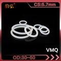 Белое Силиконовое кольцо 5 шт./лот Силиконовое/VMQ уплотнительное кольцо толщиной 5,7 мм OD30/35/40/45/50 мм резиновое уплотнительное кольцо уплотнит...