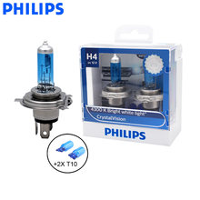 Philips H4 9003 HB2 12V 60/55W Crystal Vision 4300K White Light Halogen Lamp Car Headlight Stylish Look 12342CVSM, Pair + 2x T10(China)