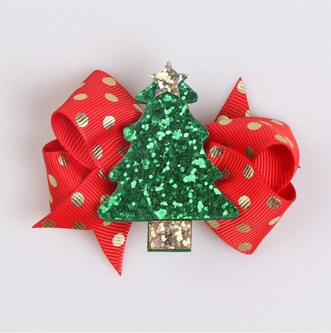 1x 8cm Christmas Tree Bow Hairpin Children Santa Claus Hair Hairpin Snowman F1A8