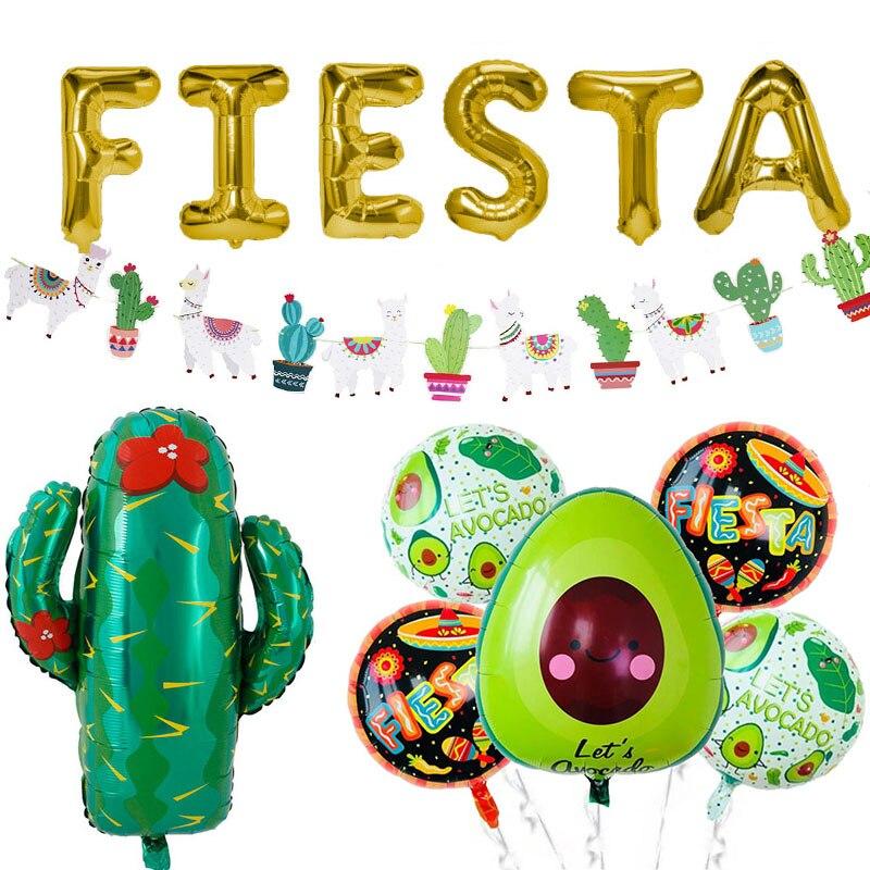 Mexican Fiesta Party Alpaca Cactus Foil Balloon Alpaca Banner Bachelorette Pinata Balloon Party Decor Summer Birthday Supply