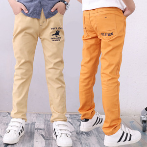 Image 3 - 4 12T ชายกางเกงสบายๆ 100% ฝ้ายตรงกางเกงสำหรับชายสีขาวเด็กกางเกงเด็ก 110  150 คุณภาพสูง