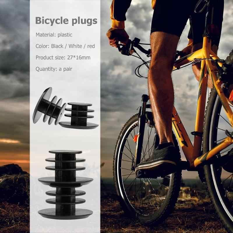 1 par de bicicleta guiador plástico grip end plugues proteção mtb estrada ciclismo alças apertos tampas rolhas acessórios da bicicleta