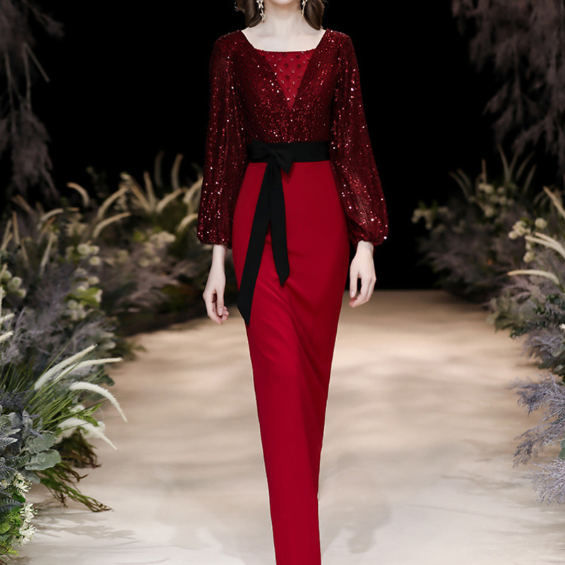 Vestido Cocktail Evening Dress Female 2020 New Toast Wine The Bride Show Thin Tail Winter Conference Host