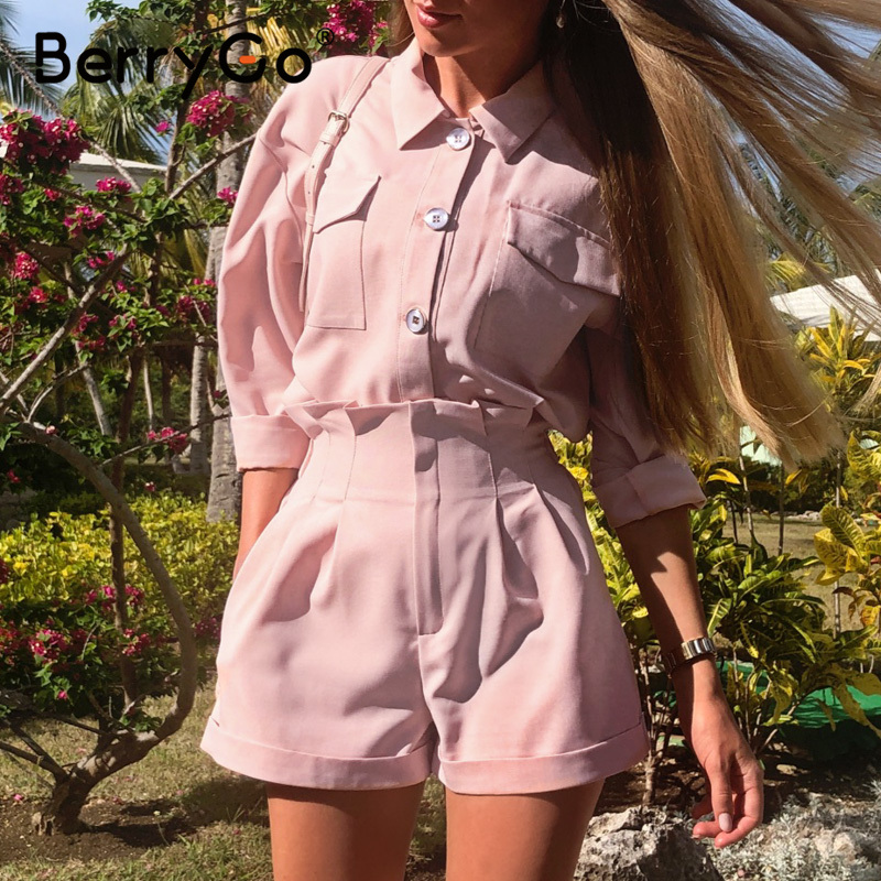 BerryGo Casual Buttons Two-piece Suits Women Set High Waist Pockets Female Short Jumpsuit 2020 Summer Style Ladies Sets Outfit