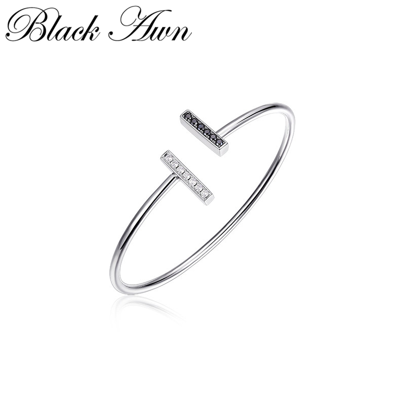 [BLACK AWN] 925 Sterling Silver Open Charm Bracelet & Bangle Women Wedding Jewelry B001