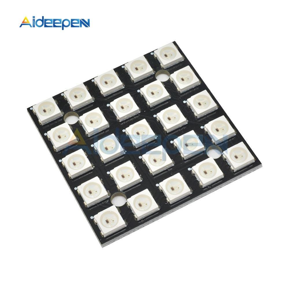 Panneau RGB LED 8x8 5x5 WS2812B 5050, panneau de développement WS2811 SMD 5050, bandes Led 8-bit 16-bit, Module polychrome