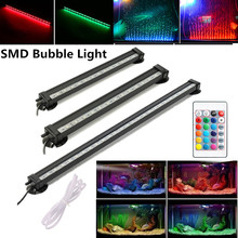 24/32/47/56/71/94CM RC Colorful RGB SMD Aquarium Air Bubble Lamp Waterproof Fish Tank Submersible Light US/EU/UK/SAA Plug 46cm 18pcs led aquarium fish tank light tube bar light underwater submersible air bubble safe lighting us eu uk saa plug