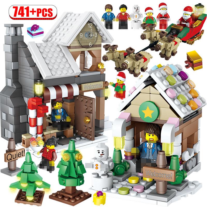 Creator Christmas Tree Snowman Building Blocks  Winter Village Christmas Gifts Santa Claus Figures Bricks Kids Toys