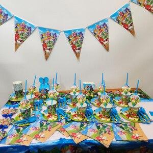 105 sztuk/partia Sonic the Hedgehog Theme chłopcy Birthday Party jednorazowe materiały dekoracyjne papier płyta prezent torba serwetka Flag Supplies