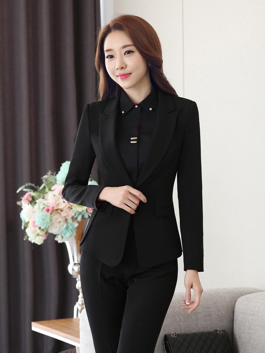 Novelty Black Formal Uniform Designs Women Business Suits Autumn Winter OL Styles Blazers Professional Office Ladies Work Sets