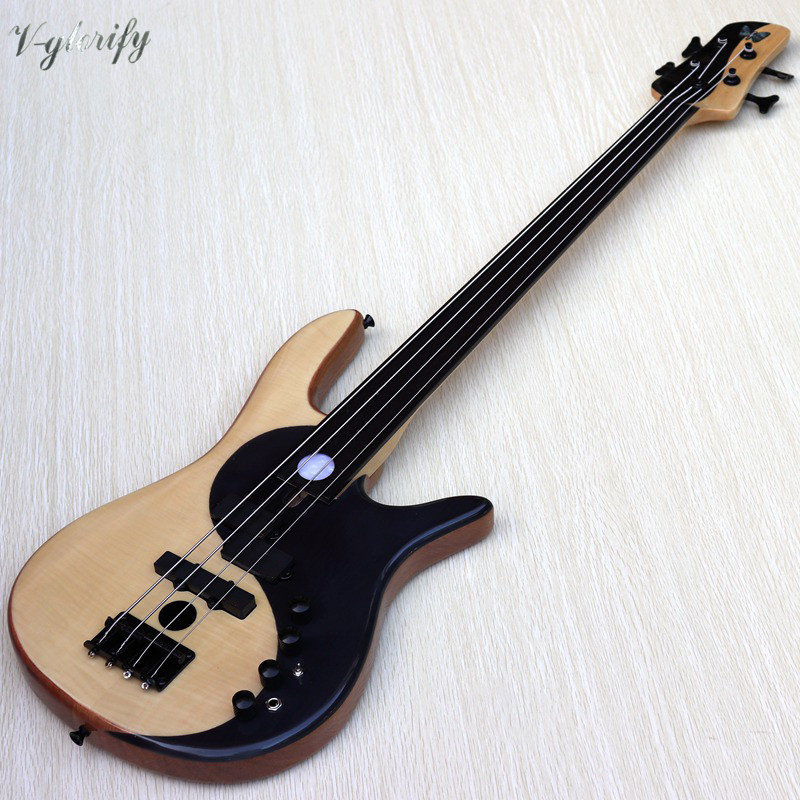 good quality flame maple mix with rosewood body Foderaa Active 4 string fretless bass guitar mahogany solid wood