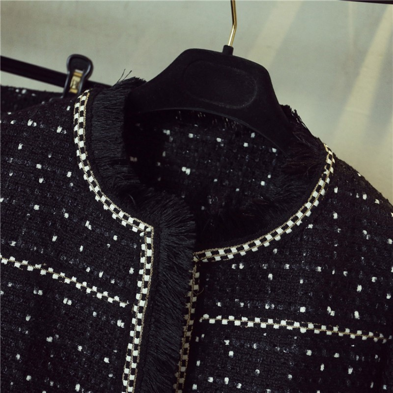 Elegant Qualites Womens Tassel Plaid Tweed Slim Two Piece Sets Fashion Long Sleeve O-Neck Short Coats High Waist A-Line Skirts