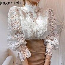 Gagarich elegante blusa de las mujeres coreano Chic otoño Chic suelto botón recorte tipo encaje con parches de flores manga larga cuello camisa