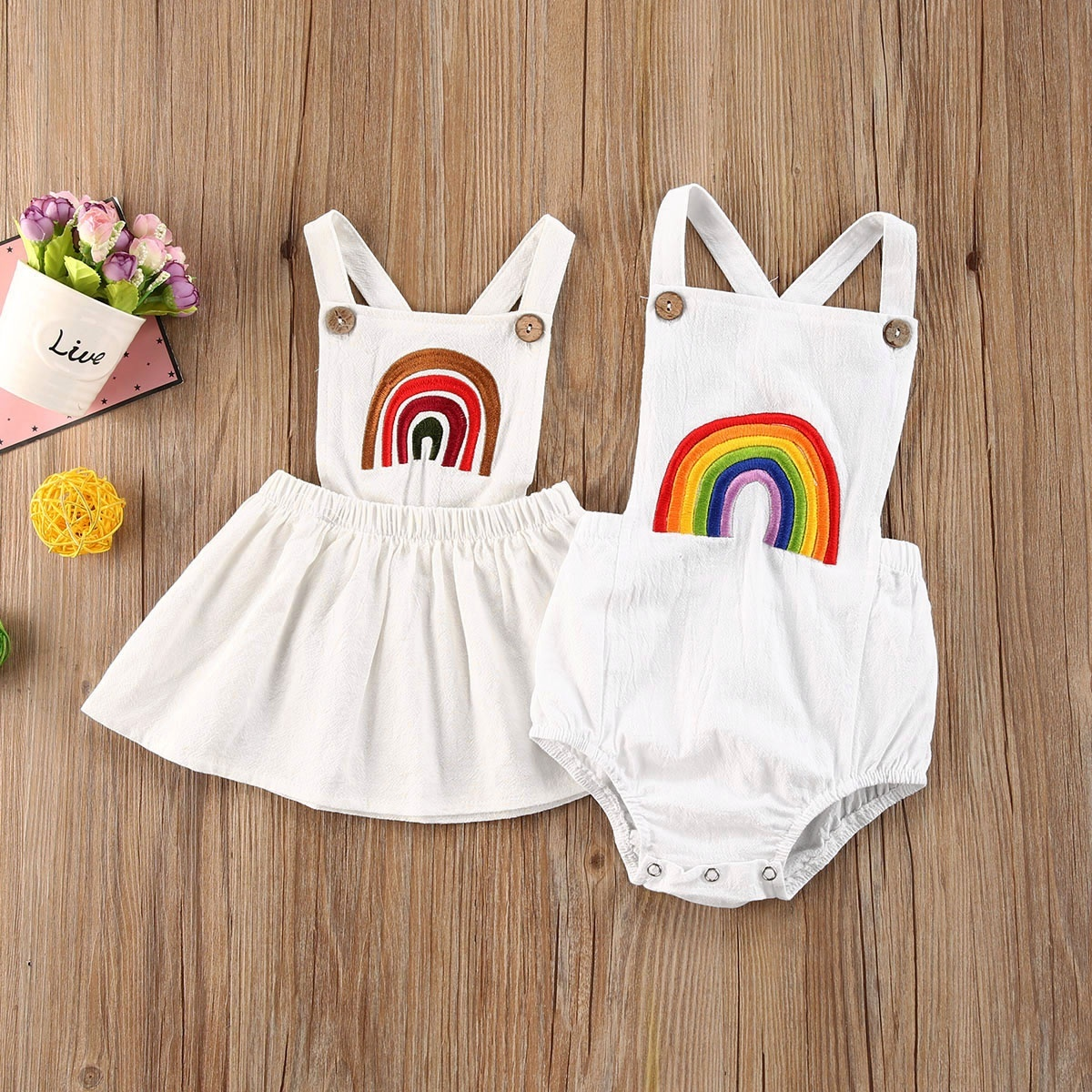 0-24M Summer Newborn Rainbow Sleeveless Romper Jumpsuit Cotton Summer Clothes Dropshipping