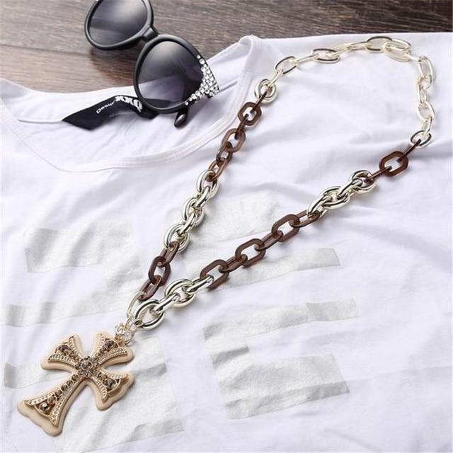 Фото ожерелья и подвески из акрила с длинной цепочкой подвеска крестиком цена
