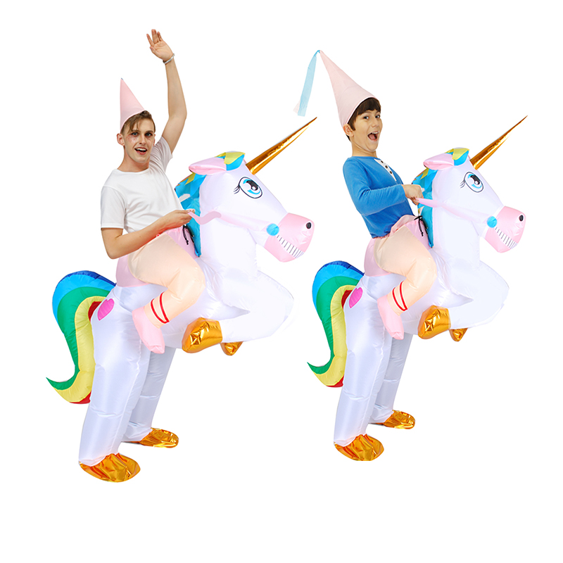 New Unicorn Inflatable Costume Adult Riding Horse Halloween Cosplay Carnival Christmas Fance Dress  Purim Animal Mascot Unisex
