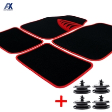 Set Car Floor Mat Carpet Mats Universal Cover Protector Nonslip Pad Clips Fastener Seat Front Rear Liner Trunk Boot Auto Styling