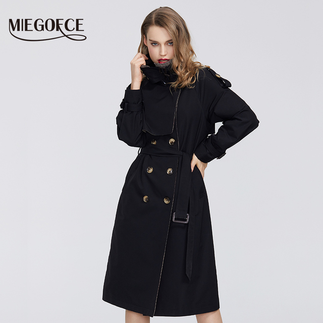 $ US $51.90 MIEGOFCE 2020 Spring New Collection Women's Cloak Warm Windproof Women's Coat Spring Trench Spring Windbreaker with Buttons