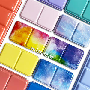 Palette Tray Macaron Painting-Storage Half-Pans Tins Watercolor/oil/Acrylic Box