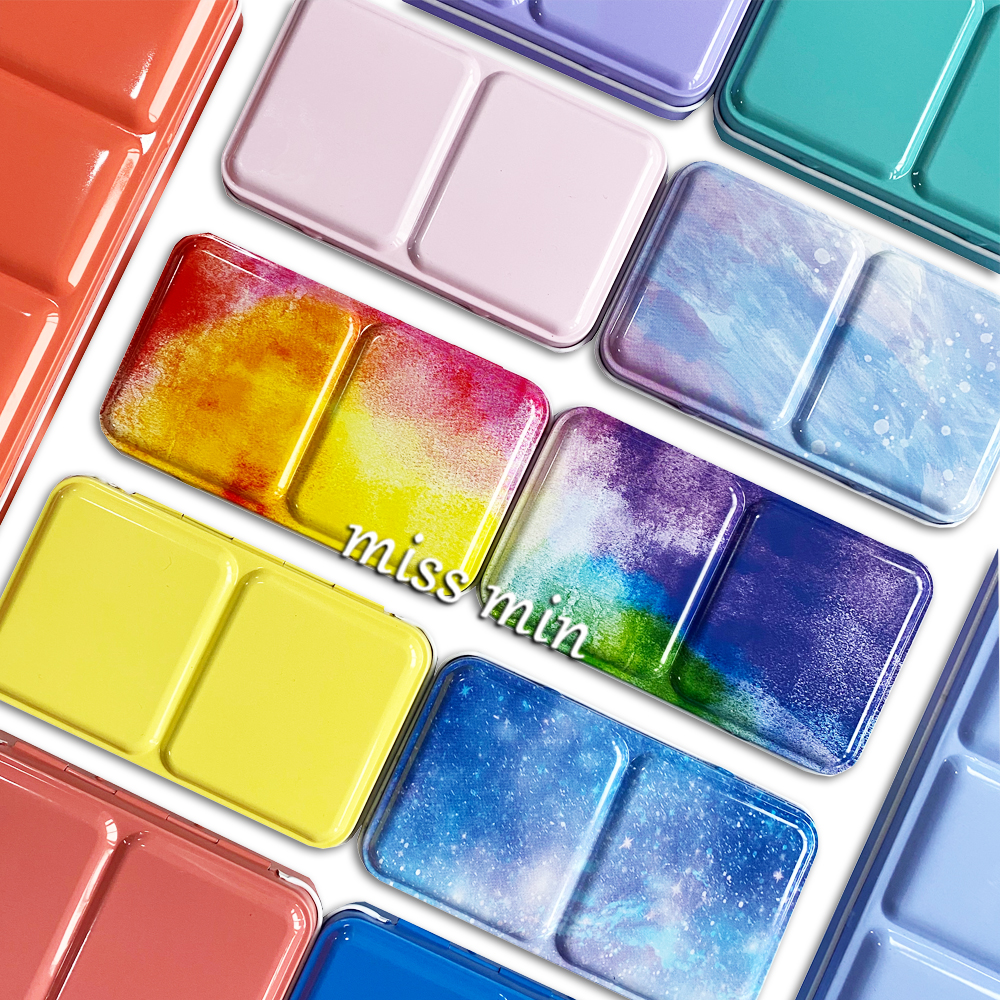 Watercolor/Oil/ Acrylic Paints Macaron Starry Tins Box Palette Painting Storage Tray Palette Box With Full Or Half Pans For Art