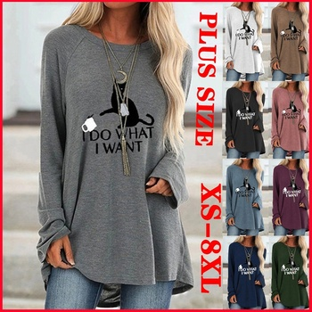 New Women Spring Autumn Clothes Casual Printed Round Neck Long Sleeves Tunic T-Shirt Loose Cotton Pullover Plus Size grey random floral print round neck long sleeves t shirt