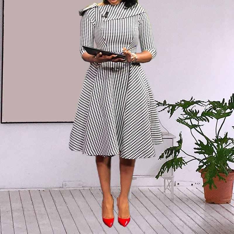Африканское модное винтажное платье с принтом в горошек элегантное Ретро шикарное платье трапециевидной формы с рукавом семь четвертей Формальное Деловое платье для офисной леди