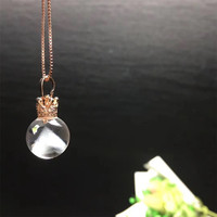 Rare natural white ghost pyramid shape ball pandent Necklace reiki healing crystals Electroplated rose golden Lockbone chain