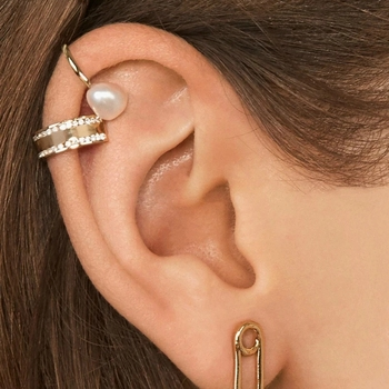 Minimalist Pearl Ear Cuff without Piercings (Gold)