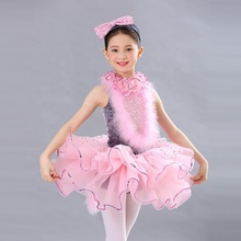 2019 Pink hairy kitty dance ballet unique style children dress charming wear  lyrical costumes