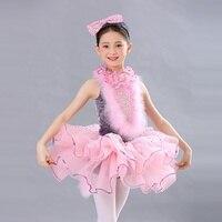 2019 Pink hairy kitty dance ballet unique style children dress charming dance wear lyrical dance costumes