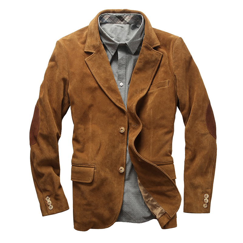 1952 Read Description! Asian Size Genuine Cow Skin Leather Jacket Mens Cowhide Casual British Stylish Leather Blazer