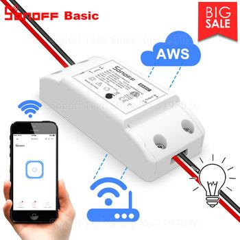 Itead Sonoff Basic R2 Wifi DIY inteligentny bezprzewodowy zdalny przełącznik Domotica moduł kontrolera światła praca z Alexa Google Home eWeLink tanie i dobre opinie CN (pochodzenie) Ready-to-go Wszystko kompatybilny Sonoff Wifi Smart Switch 90-250v AC(50 60Hz) 2200 Watts 88*38*23mm (L*W*H)