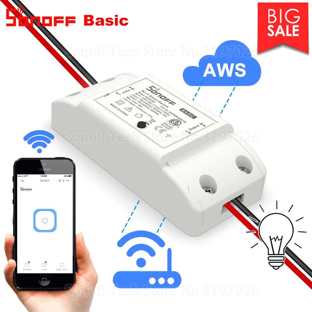 Itead Sonoff – Module de contrôleur de lumière à distance Basic R2, appareil intelligent, domotique sans fil, wifi, fonctionne avec Alexa et Google Home, eWeLink