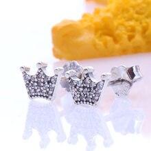 925 prata esterlina pandoradora encantada coroa com peças de cristal para presente feminino