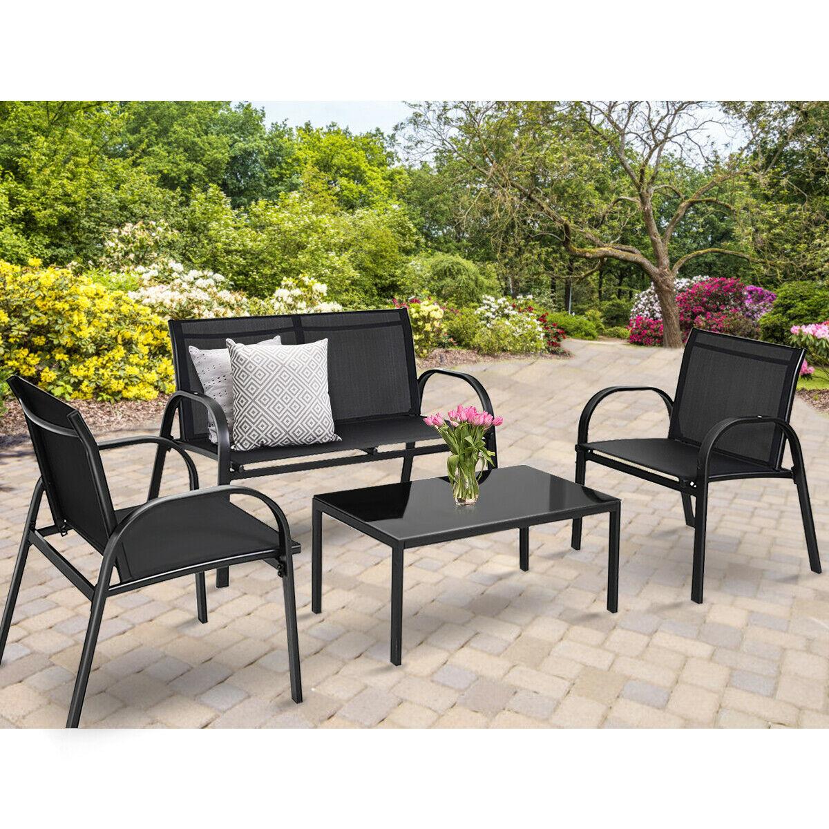 costway 4 pcs patio furniture set sofa coffee table steel frame garden deck black hw65848bk