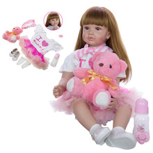 60cm Reborn Baby Doll Toys For Girl Soft Silicone Exquisite Princess Toddler Alive Babies Child Birthday Gift Play House Toy(China)
