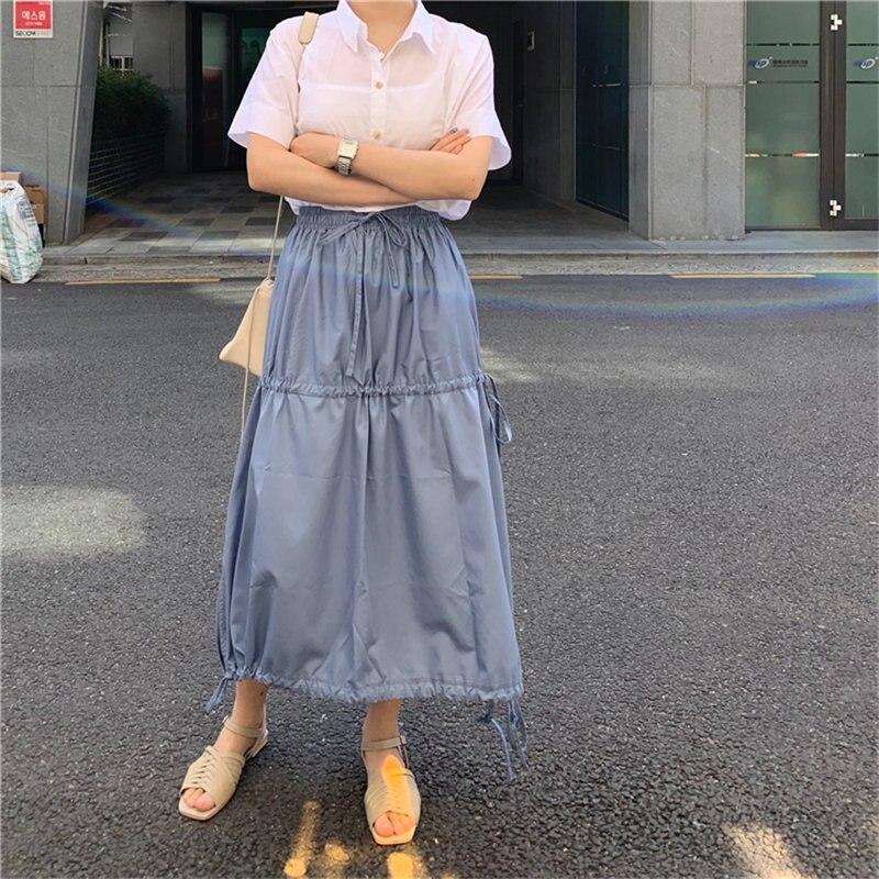 Alien Kitty Summer Elastic-Waist Solid Drawstring 2020 All Match Korean Streetwear Chic Loose Women Casual High Waist Skirts