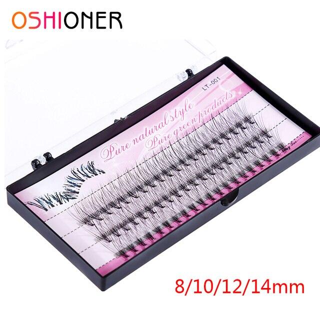 Oshioner天然偽アイまつげ60個8/10/12/14ミリメートルメイク個人クラスタまつげグラフト延長シルクつけまつげ