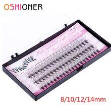 Oshioner pestañas postizas de seda Natural, 60 uds., 8/10/12/14mm, maquillaje de racimo Individual, extensión de pestañas Grafting