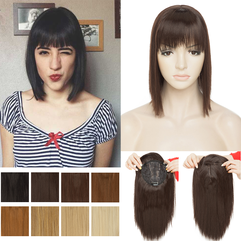 SNOILITE Toupee Hair With Bangs Clip In One Piece Straight Hairpiece Synthetic Topper Hair Clip In Hair Extensions Top Fake Hair