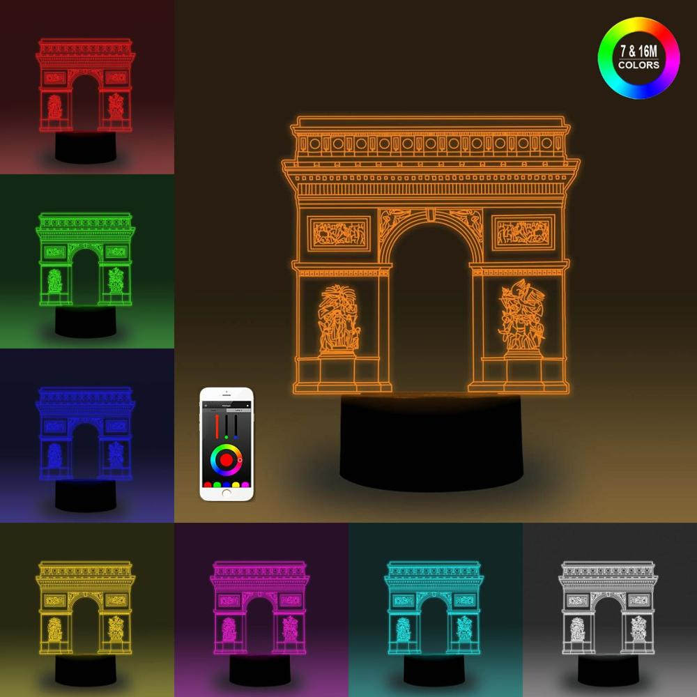 NiteApps 3D Triumphal Arch Night Light Desk Table Illusion Decoration Lamp Holiday Birthday Gift APP/Touch Control