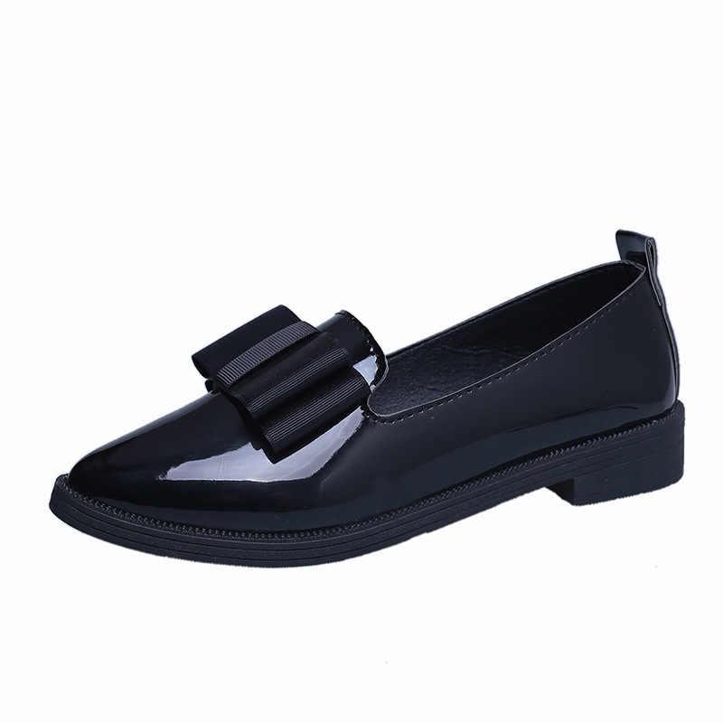 XEK Herfst Flats Vrouwen Schoenen Bowtie Loafers Lakleer Elegante Lage Hakken Slip Op Schoenen Vrouwelijke Wees Teen YYJ123
