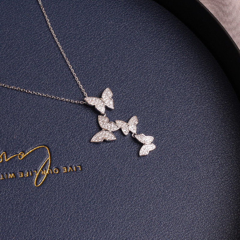 Korean New Fashion Jewelry Exquisite Copper Inlay Luxury Shiny Zircon Butterfly Pendant Necklace Women Prom Party Necklace