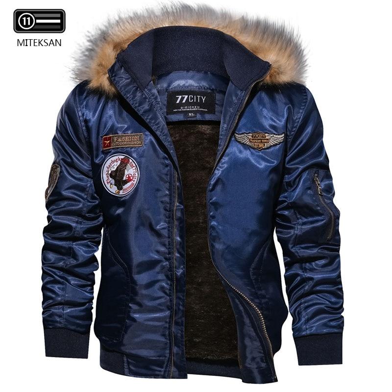 MITEKSAN Brand Winter Parkas Men Inner Fleece Warm Outdoor Jacket Jerse Coat Fashion Bomber Windproof Hombre Coat Streetwear New
