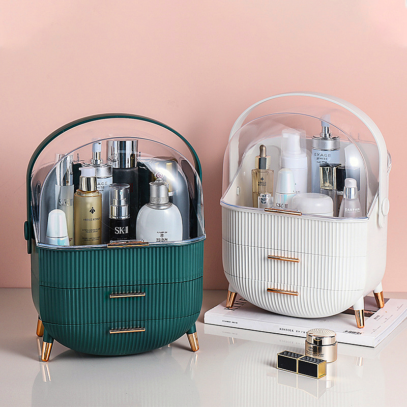 Cosmetic Storage Box Desktop Dustproof Drawer Type Plastic Jewelry Makeup Box Bathroom waterproof Beauty Organizer Box For Women Storage Boxes & Bins  - AliExpress