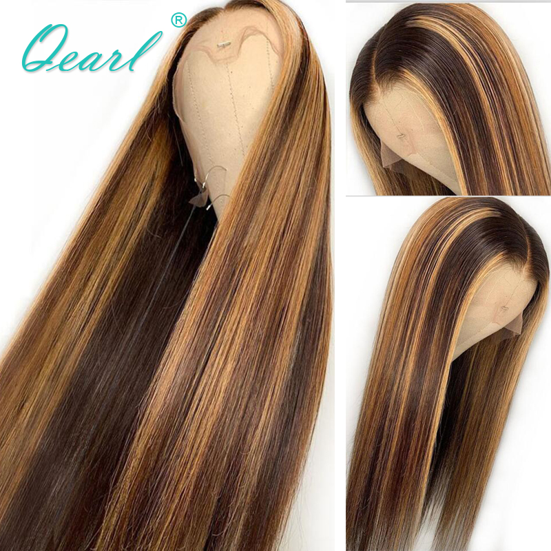 Glueless Human Hair Wigs Highlight Ombre Color Brazilian Remy Straight Lace Front Wig 13x4/13x6 Middle Part Qearl