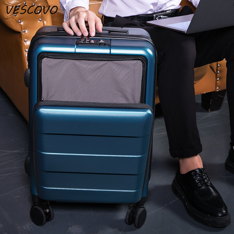 VESCOVO 20inch front cover computer laptop trolley luggage on wheel PC suitcase men and women boarding business luggage box image
