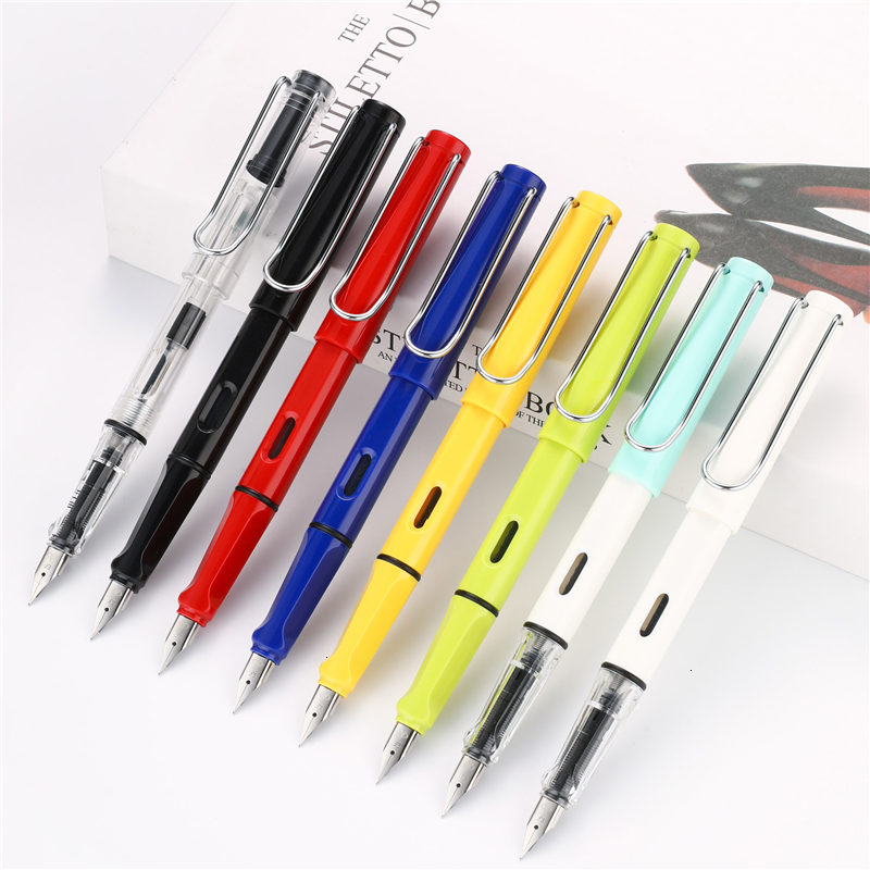 0.38/0.5mm High Quality Colored Plastic Fountain Pen Ink Writing Calligraphy Pens Gift Office Stationary Supplies 03930